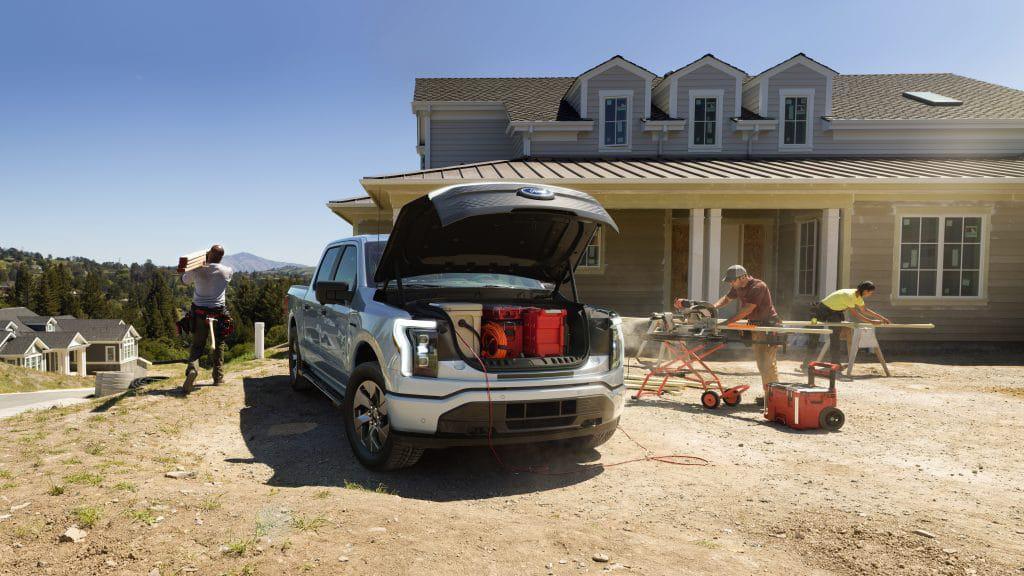 Porta-malas dianteiro da picape elétrica F-150 da Ford, também chamado de frunk