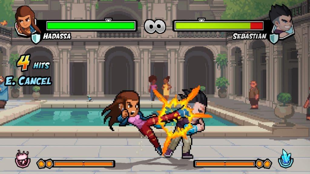 Cena do gameplay revela dois oponentes se enfrentando.