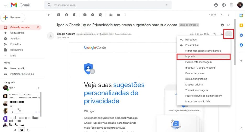 E-mail aberto no Gmail