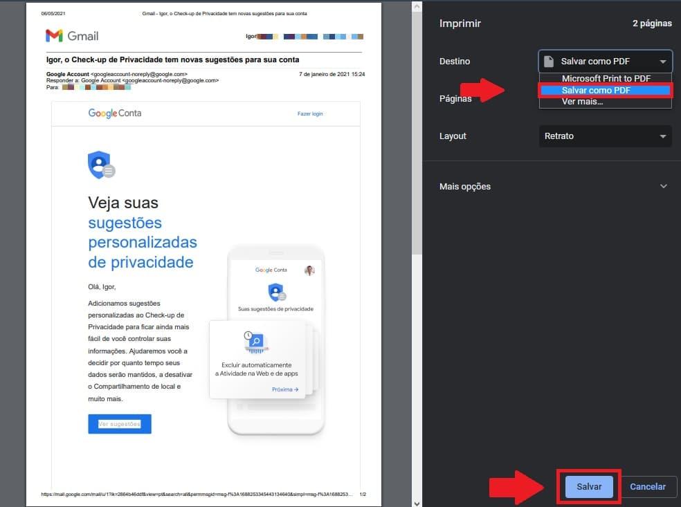 Salvando o e-mail como PDF