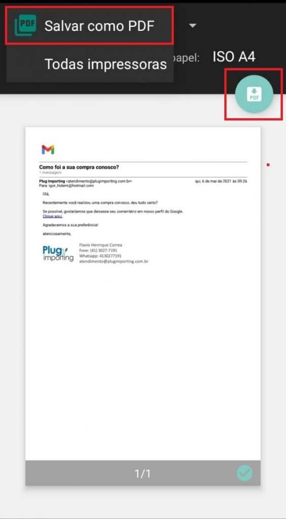 Salvando a mensagem como arquivo PDF