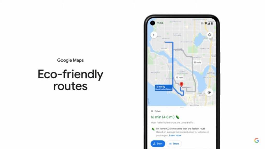 Imagem mostra exibição das rotas amigáveis ao meio ambiente, uma atualização que deve chegar ao Google Maps nos próximos meses