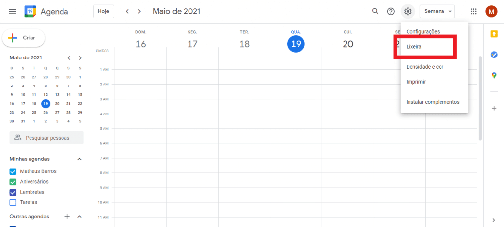 Print do Google Agenda
