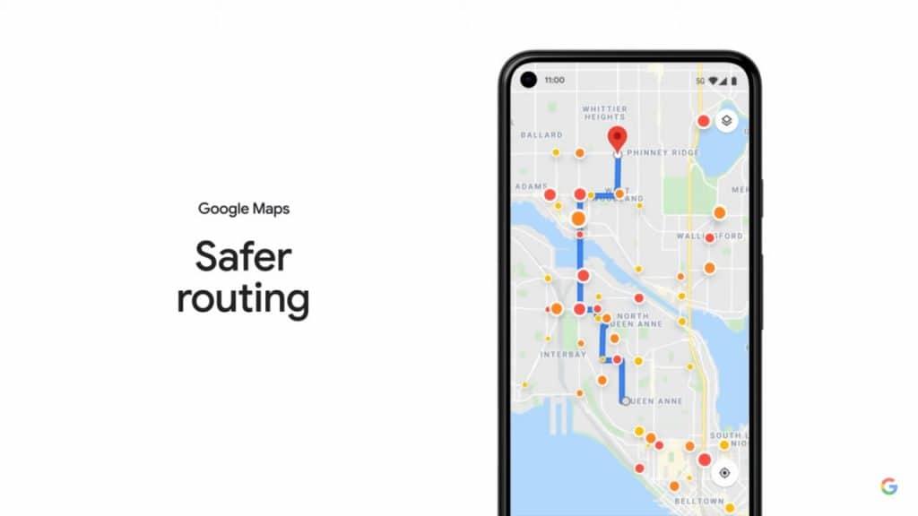 Imagem que mostra o recurso Safer Routing do Google Maps, que oferece a você vias mais confortáveis e com menos frenagens bruscas