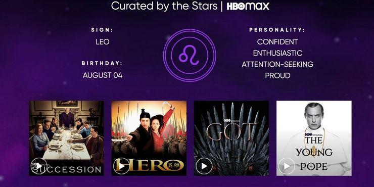 HBO Max faz recomendações de filmes e séries com base em seu signo. Imagem: HBO Max/Reprodução