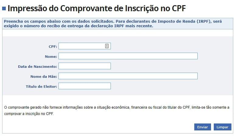 Impressão do comprovante de inscrição no CPF versão simplificada