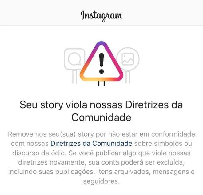 Informativo do Instagram sobre violação das diretrizes da plataforma