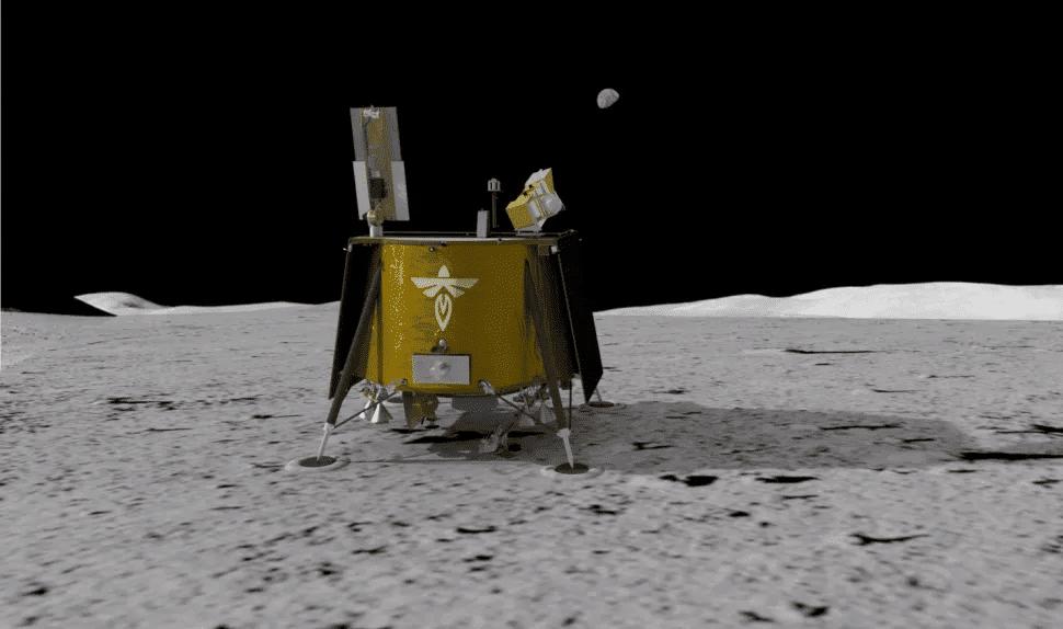 Imagem mostra uma renderização em 3D do módulo Ghost Lander, da Firefly Aerospace, que viajará à Lua com um foguete da SpaceX