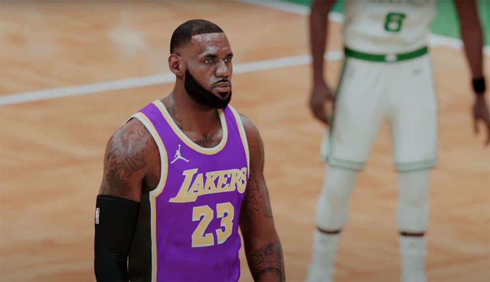 LeBron James, do Los Angeles Lakers, no 'NBA 2K21'. Imagem: 2k Sports/Divulgação