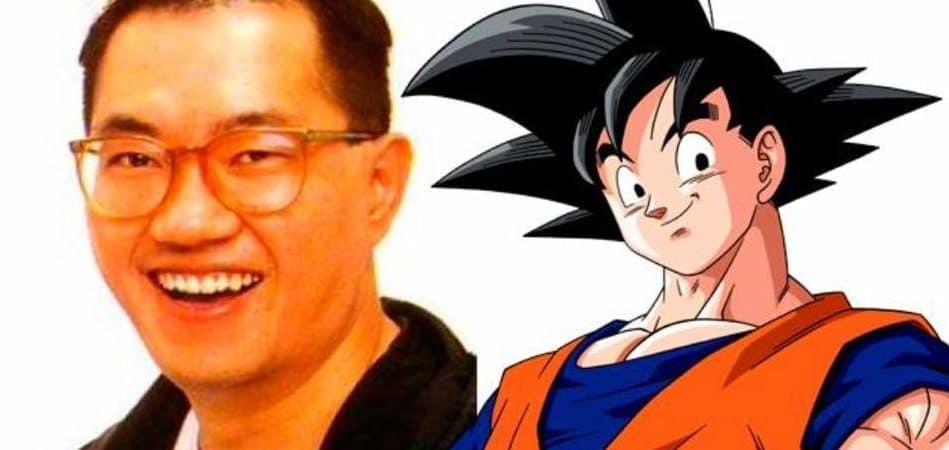 O criador de Dragon Ball, Akira Toriyama, ao lado de Goku. Imagem: Montagem/Divulgação/Toei Animation