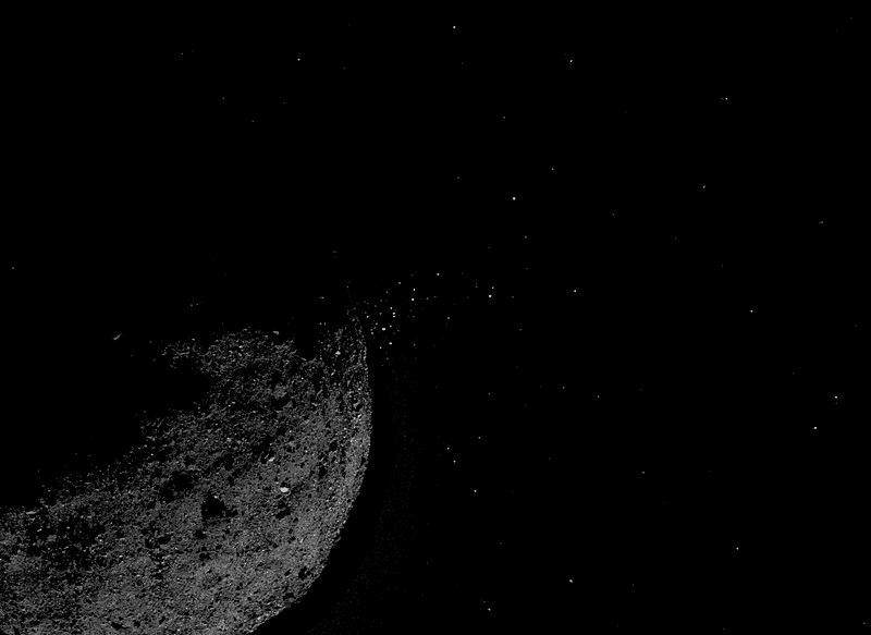 Particles ejected from the asteroid Bennu. Credits: Osiris-Rex / NASA