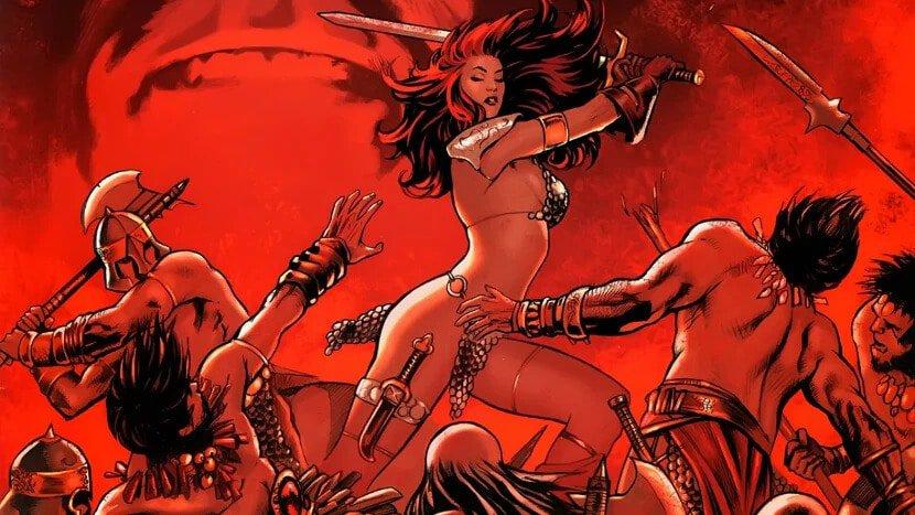 Hannah John-Kamen, de Homem-Formiga, será Red Sonja nos cinemas. Imagem: Marvel Comics/Dynamite Entertainment/Reprodução