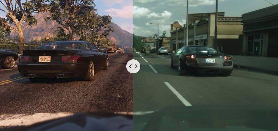 Intel está usando inteligência artificial para deixar 'GTA V' mais realista. Imagem: Montagem/Rockstar/Reprodução/Youtube
