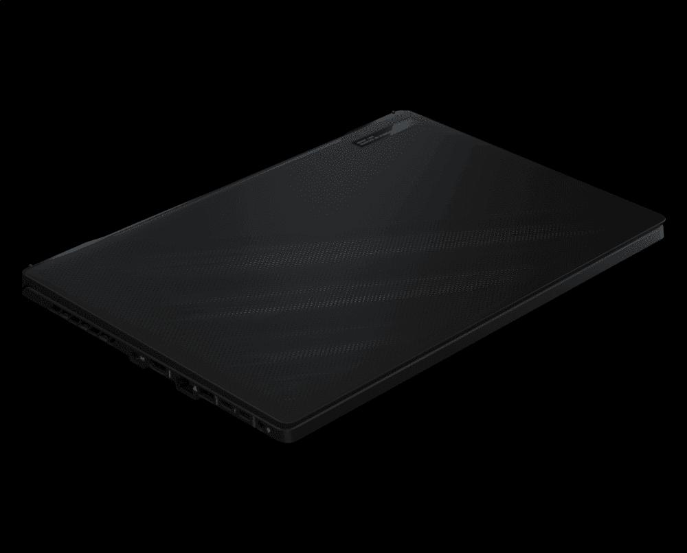 Imagem mostra o notebook Zephyrus M16, da Asus, fechado e com o fundo preto.