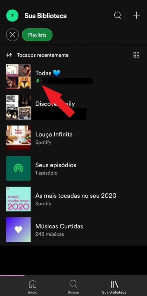 Print do aplicativo do Spotify