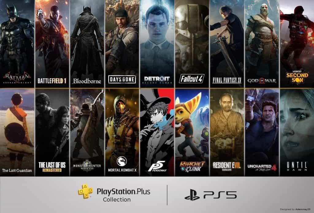 Banner mostra todos os jogos disponibilizados pela Sony na coletânea PlayStation Plus Collection, incluindo clássicos como Batman: Arkham Asylum, God of War, Days Gone e Bloodborne