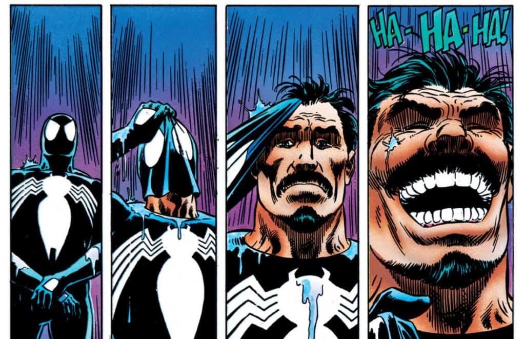 Kraven vestindo o uniforme negro do Homem-Aranha