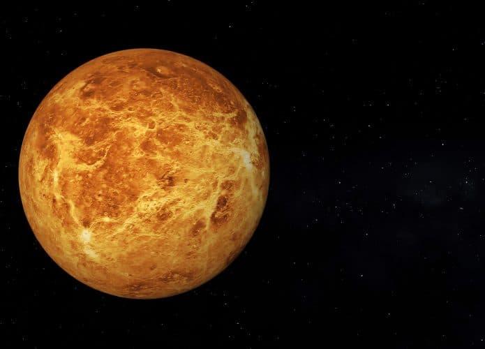 Vista de Venus sin nubes en 3D