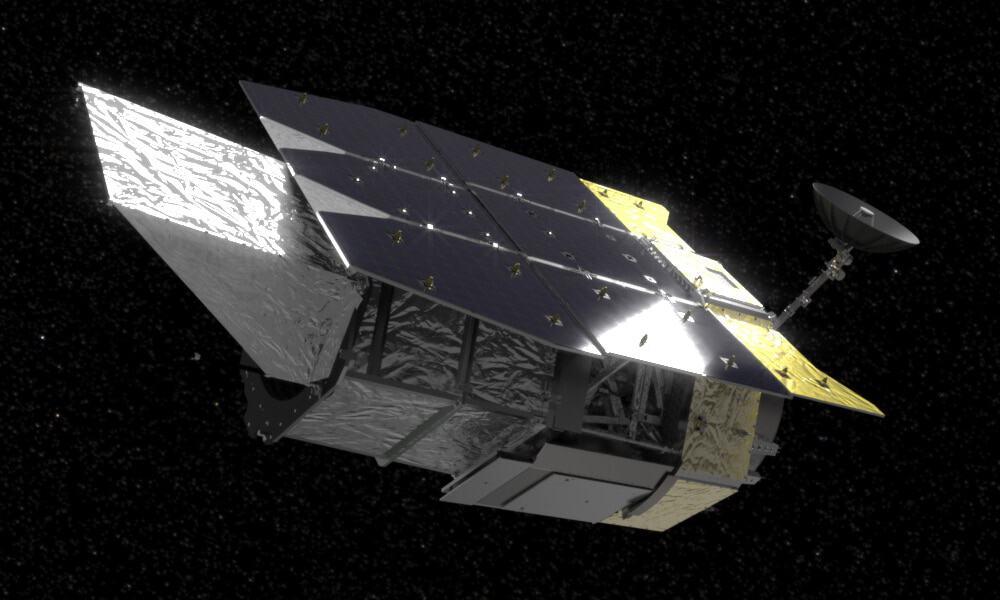 Renderização do telescópio espacial Nancy Roman, que a Nasa usará na observação de explosões supernovas para estudar a matéria escura