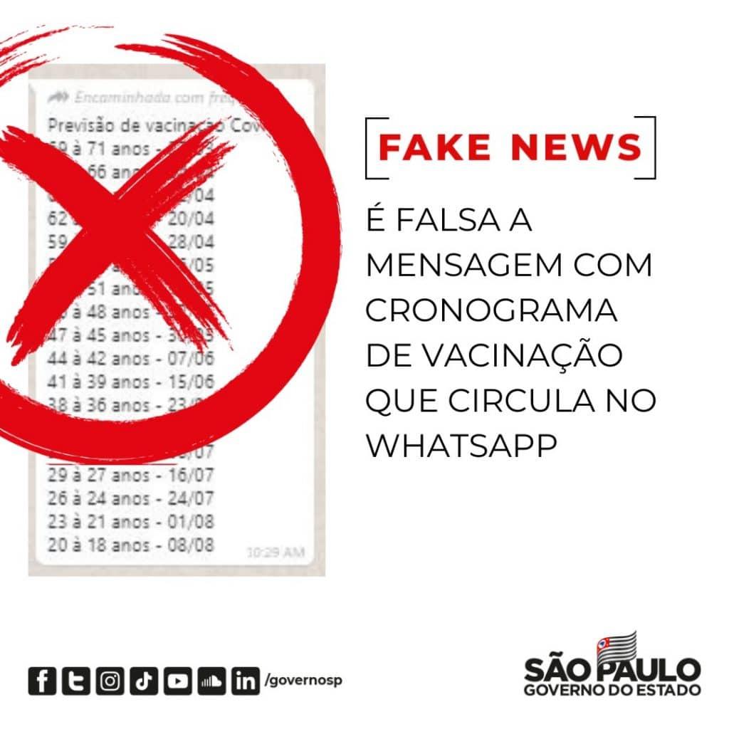 É falsa mensagem que informa aceleração da vacinação contra Covid-19 em São Paulo