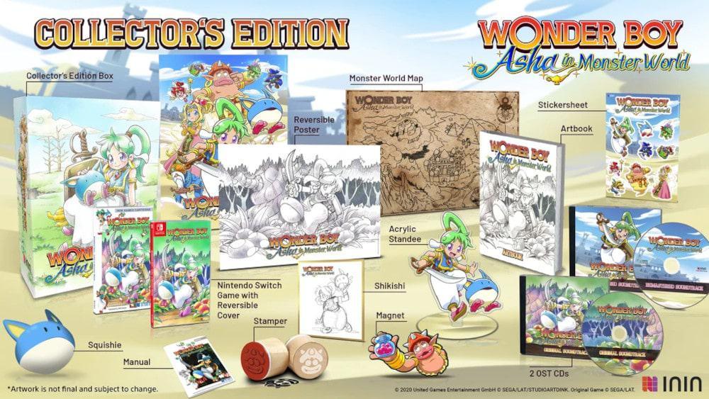 Conteúdo da edição de colecionador de Wonder Boy: Asha in Monster World. Imagem: Divulgação