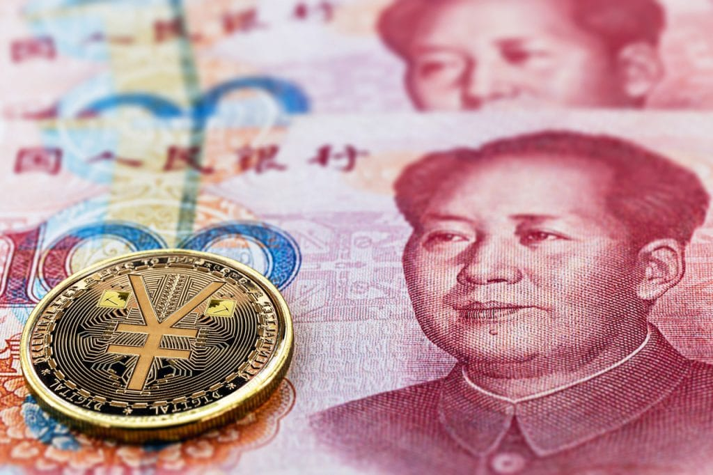 Ilustração do yuan digital, a criptomoeda da China