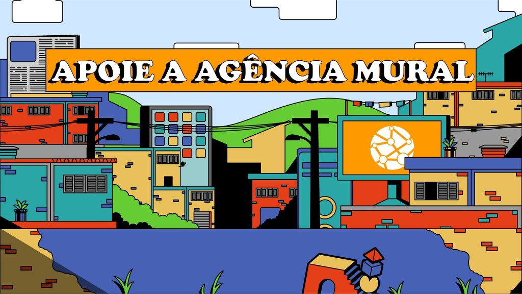 Ilustração mostra prédios no meio da cidade e também um jornal e um computador. No centro é possível ler a frase: Apoio a Agência Mural, uma iniciativa que fez parte da comunidade de acelerados pelo programa do Facebook