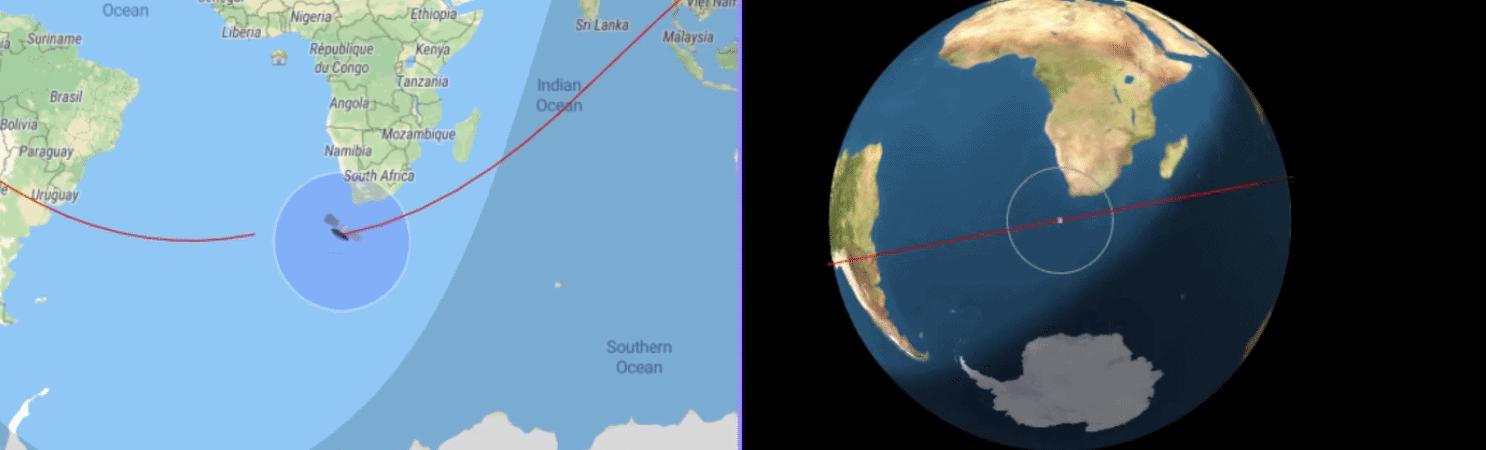 Print screen mostra trajetória ao vivo do foguete chinês Longa Marcha 5B