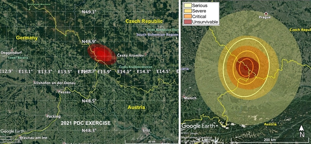 Esquerda: área provável do impacto do asteroide fictício 2021 PDC. Direita: Áreas atingidas (na área em vermelho, não haveriam sobreviventes). Créditos: JPL/NASA