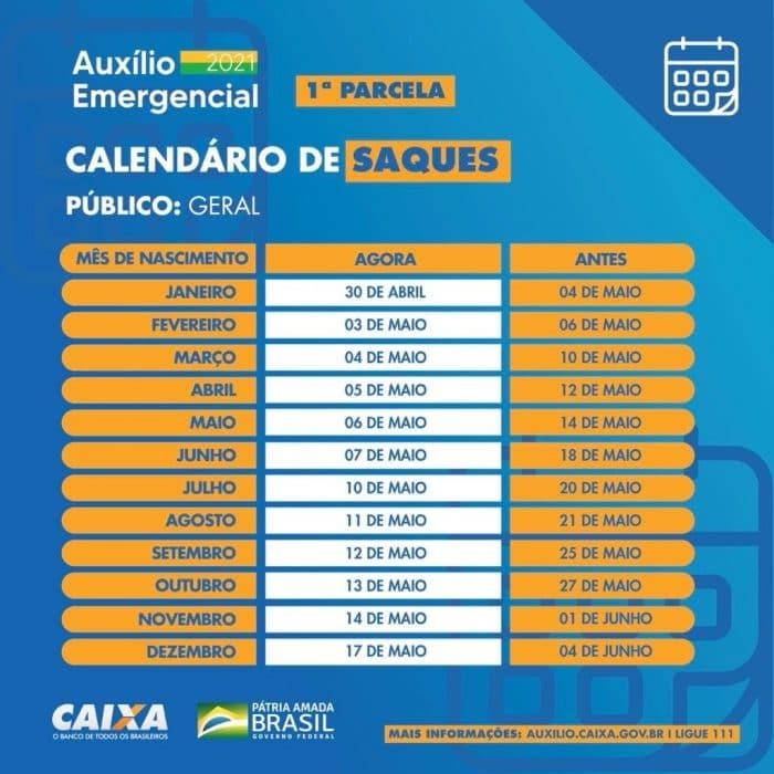Calendário de saques da primeira parcela do auxílio emergencial. Créditos: Divulgação/Caixa