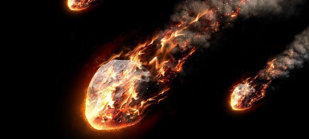 Ilustración de lluvia de meteoritos
