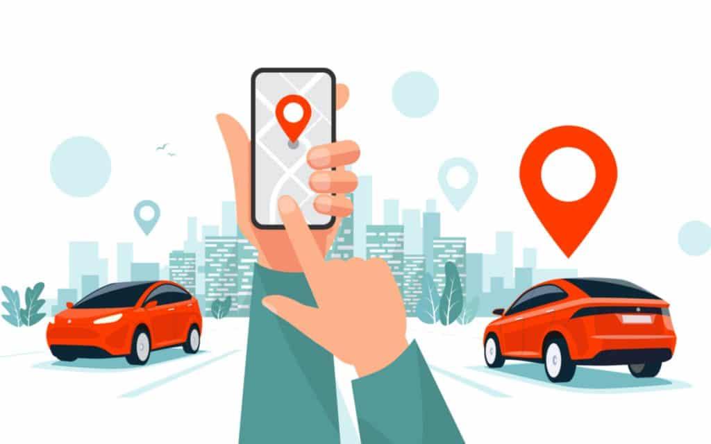 Ilustração mostra o desenho de dois carros e, no centro, uma mão segurando um celular e solicitando uma corrida por meio de aplicativo de compartilhamento de carros