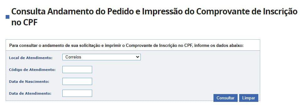consulta de andamento do pedido e impressão do comprovante do CPF