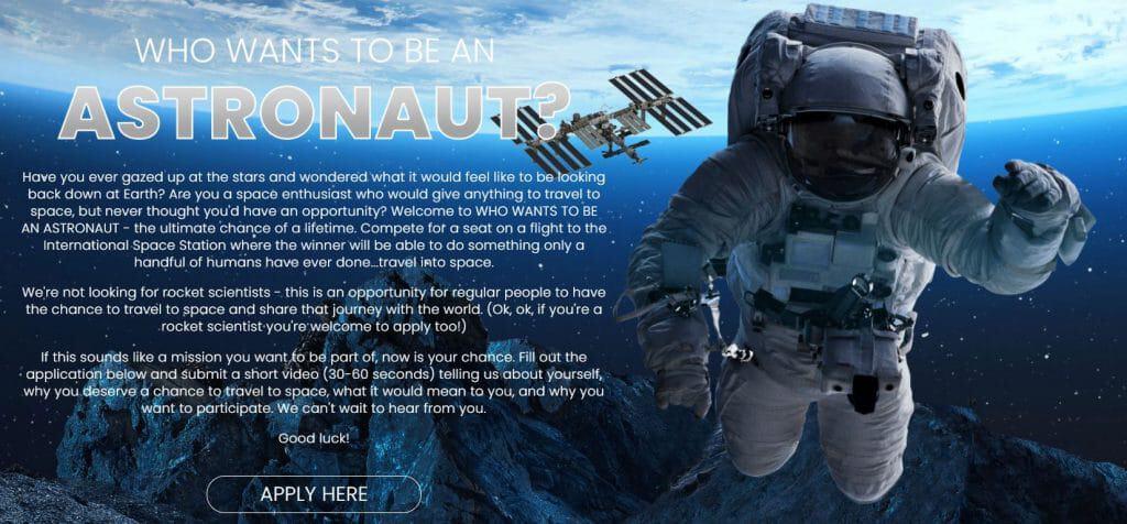 Formulário para participar do reality 'Quem Quer Ser um Astronauta?'.
