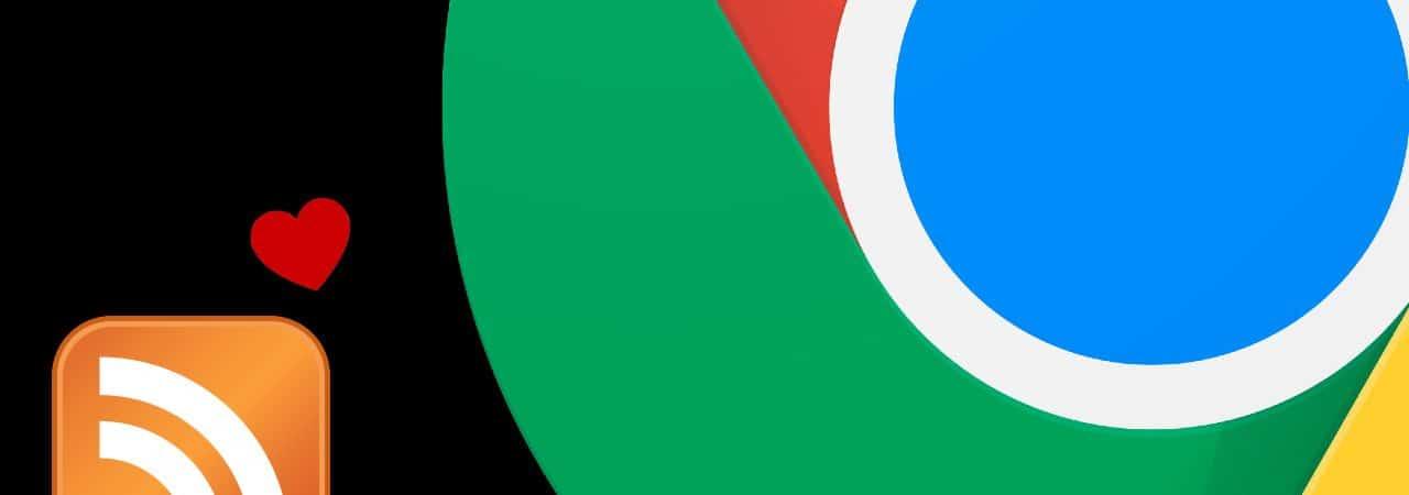 Montagem mostra parte da logomarca do navegador Google Chrome e a logomarca do leitor de RSS