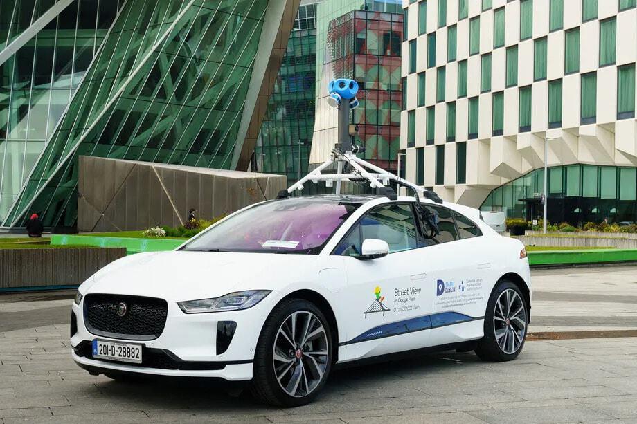 Google agora tem um Jaguar elétrico para captar imagens do Street View. Imagem: Google/Divulgação