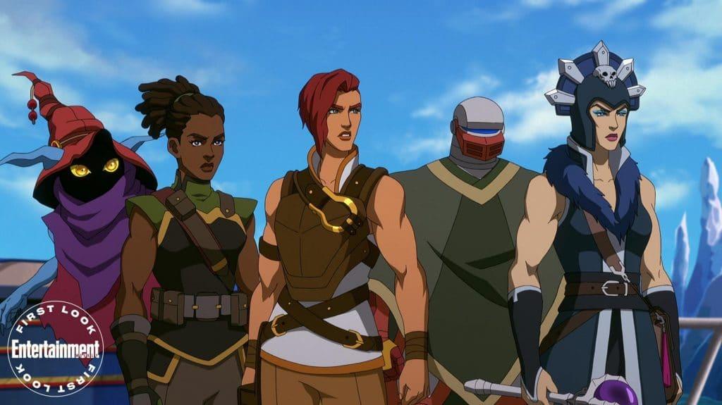 Gorpo (Griffin Newman), Andra (Tiffany Smith), Teela (Sarah Michelle Gellar), Roboto (Justin Long), e Maligna (Lena Headey). Imagem: Netflix/Divulgação