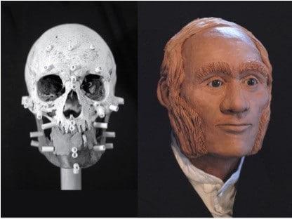 Imagem mostra reconstituição da face do marinheiro john gregory, morto há 175 anos, membro da expedição HMS Erebus
