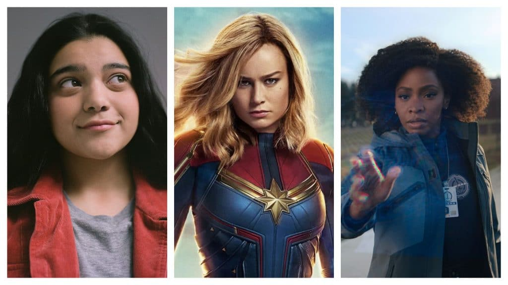"""Montagem coloca Iman Vellani, Brie Larson e Teyonah Parris no que sugere uma união entre as três no filme """"Marvels"""""""