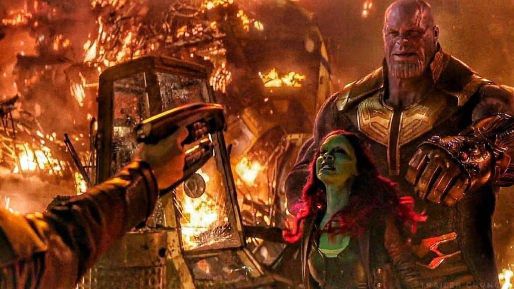 Ao ser raptada por Thanis, Gamora diz que ama Peter Quill. Imagem: Marvel Studios/Divulgação