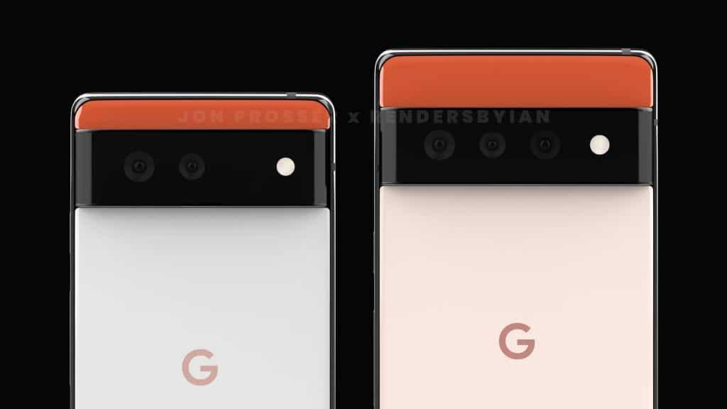 Imagem mostra renderizações conceituais do Pixel 6 e do Pixel 6 Pro, os próximos smartphones flagship do Google