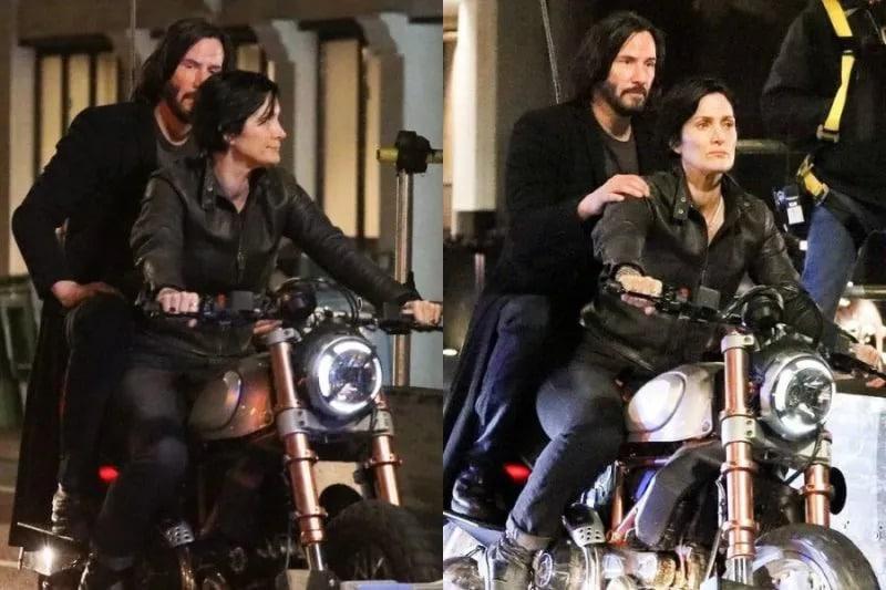 Carrie-Anne Moss e Keanu Reeves nas gravações de Matrix 4, em São Francisco. Imagem: Reprodução/jornal San Francisco Chronicle