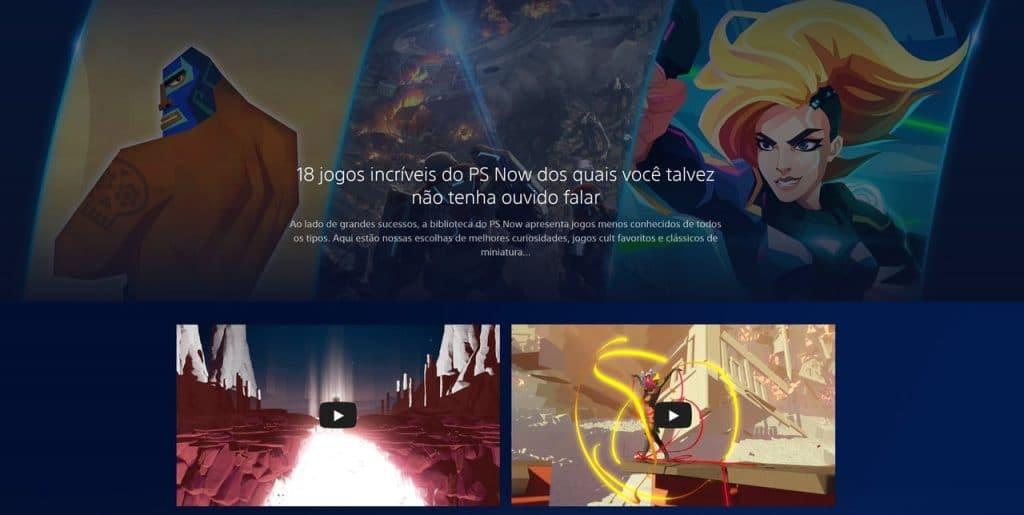 PS Now no Brasil? Página com vários jogos do serviço aparece traduzida em PT-BR. Imagem: Imagem: Reprodução/PlayStation