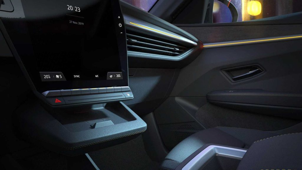 Interior do Renault Megane elétrico. Imagem: Renault/Divulgação