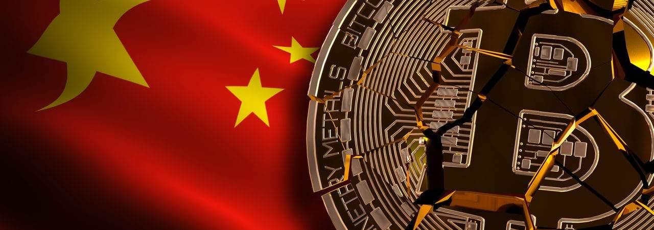 Ilustração de proibição de criptomoedas como o bitcoin na China