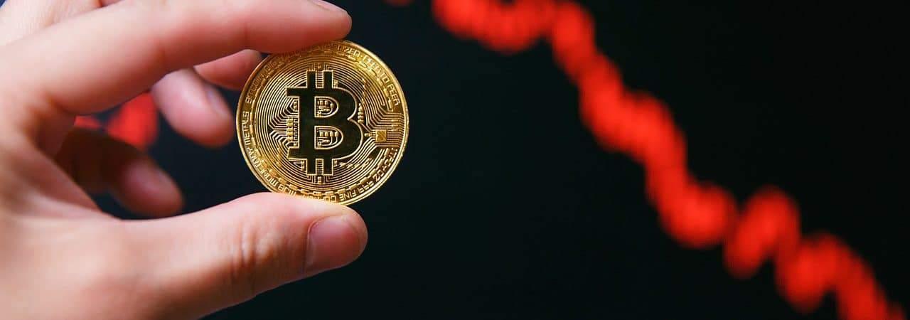 Ilustração do bitcoin em queda