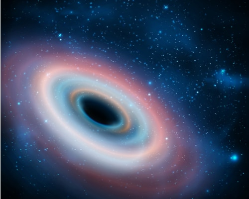 Ilustração de um buraco negro, que cientistas descobriram exercer pressão, além de radiação térmica