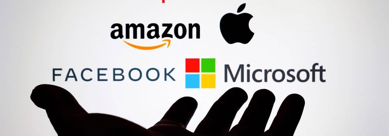 Ilustração das principais big techs: Alphabet, Amazon, Apple, Facebook e Microsoft