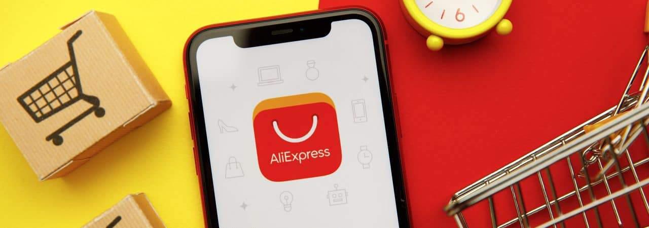 Ilustración del logotipo de AliExpress con carritos de compras