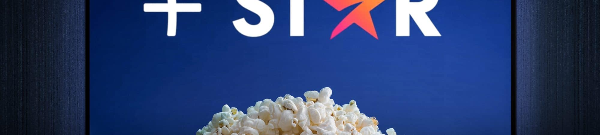 televisão com logo Star+ e balde de pipoca